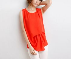 Orange / white chiffon blouse women blouse fashion shirt blouse sleeveless blouse