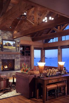 post and beam lake home on Montana's Flathead Lake-beautiful! Flathead Lake, Boho Home, Log Cabin Homes, Cabins, Timber House, Cozy Fireplace, Home Interior Design, Luxury Interior, Great Rooms