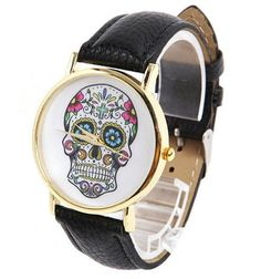 8 Style Flower Skull Golden Case Watch