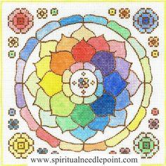 "Spiritual needlepoint - Rainbow Spiral Mandala, hand-painted, 8"" x 8"" on 13 mesh canvas, made in Sedona, Arizona"