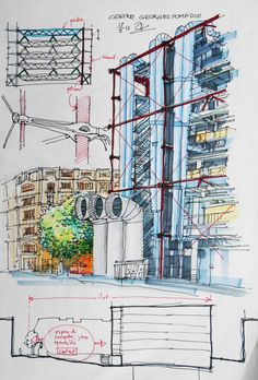 Sketch-Centre Georges Pompidou (Paris) by tranquocbao