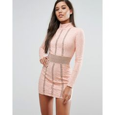 Rare London Mesh Insert Lace Pencil Dress (£62) ❤ liked on Polyvore featuring dresses, pink, long sleeve party dresses, cocktail party dress, pink bodycon dress, long sleeve bodycon dress and long sleeve sequin dress
