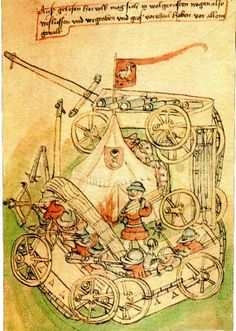 The Wagenburgs, a system of mobile defensive structures consisting of a circle of carts lashed together, bolstered by wooden boards on their front and defended by a combination of crossbows, polearms and mobile cannon. Developed by Hussite rebels during the Hussite Wars.