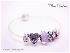Mini design on the Pandora bangle using the Spring 2016 primrose clips and the new Purple Shimmer murano