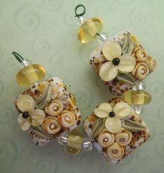BLISS Safari Floral Nugget Shaped Lampwork Bead Trio