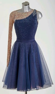 This is a super nice looking design. I love the one-shoulder but I'm not sure how I feel about the one arm being tan with sparkles. It would be nice if it was a mesh black. -A