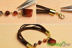 finish this simple agate beaded suede cord bracelet