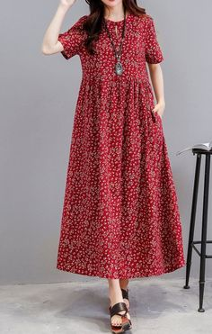 Women loose fit dress pocket ethnic flower tunic s Simple Dresses, Cute Dresses, Casual Dresses, Loose Dresses, Linen Dresses, Cotton Dresses, Modest Fashion, Fashion Dresses, Look Fashion