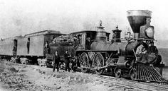 Two federal railroad commissioners on an inspection trip sit on the pilot of this wood-burning locomotive over newly built sections of the Central Pacific Railroad in Promonotory, Utah on May 10, 1869. The railroad, then being built eastward across Nevada, was to meet the westward building Union Pacific.  - (AP Photo)