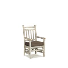 Rustic Arm Chair with Loose Seat Cushion (shown in Whitewash Finish on Bark) by La Lune Collection