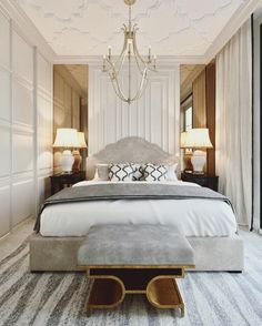 Nightstands, beds, side tables, cabinets or armchairs are some of the luxury bedroom furniture tips that you can find. Every detail matters when we are decorating our master bedroom, right? Guest Bedroom Decor, Modern Bedroom Decor, Contemporary Bedroom, Home Bedroom, Master Bedroom, Bedroom Layouts, Bedroom Styles, Interior Exterior, Home Interior