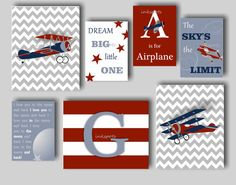 This vintage airplane print collection will be the perfect finishing touch to your airplane-themed nursery or boys bedroom! This collection