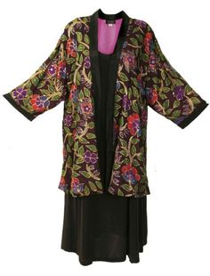 3663be70c670 Plus Size Mother of Bride Kimono Jacket Beaded Silk Floral Naturals