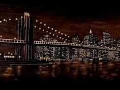 Burning Night - The art of negative woodburning (Pyrography) - (New York City - Brooklyn Bridge) (Sue Walters)