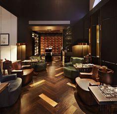 Convert Your Garage into a Man Cave - Man Cave Home Bar Hotel Lobby, Lobby Lounge, Cigar Lounge Decor, Bar Lounge, Cigar Shops, Cigar Bar, Lounge Design, Bar Billard, Zigarren Lounges