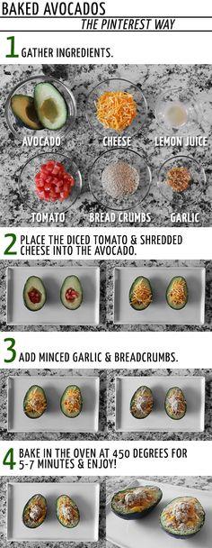Baked Avocados, so yummy! Baked Avocado, Avocado Recipes, Real Food Recipes, Snack Recipes, Cooking Recipes, Healthy Brunch, Healthy Snacks, Yummy Eats, Gastronomia
