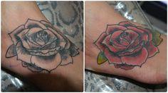 Rosa para uma cobertura, feita no pé. #tattoo #rose # coverup