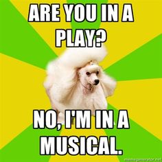 It annoyed me so much when people would call Pirates of Penzance a play. Call it a musical, or a show or just about anything else. BUT it is not a play. Theatre Jokes, Theatre Problems, Theatre Stage, Theatre Nerds, Broadway Theatre, Music Theater, Theater Quotes, Dancer Problems, Musicals Broadway