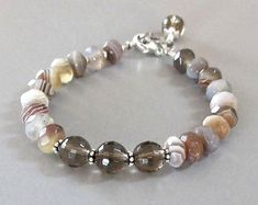Items similar to Agate Smoky Quartz Bracelet Sterling Silver DJStrang Gemstone Boho Cottage Chic Earthy Brown Gray White Amber on Etsy Bracelets En Argent Sterling, Gemstone Bracelets, Handmade Bracelets, Jewelry Bracelets, Handmade Jewelry, Blue Bracelets, Geek Jewelry, Bohemian Jewelry, Beaded Jewelry