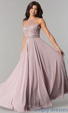 Shop long formal chiffon prom dresses under $200 at Simply Dresses. High-neck evening dresses with rhinestones and embroidered illusion bodices.