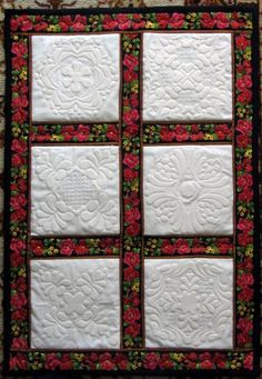 Free Projects and Ideas. Small quilt with trapunto machine embroidery designs. Longarm Quilting, Free Motion Quilting, Hand Quilting, Machine Quilting, Quilting Tutorials, Quilting Projects, Quilting Designs, Embroidery Applique, Machine Embroidery Designs