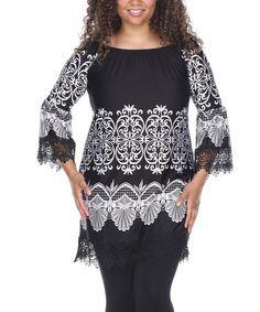 Look what I found on #zulily! Black & White Filigree Lace-Trim Off-Shoulder Dress - Plus #zulilyfinds