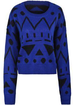 Blue Long Sleeve Geometric Pattern Crop Sweater US$22.30