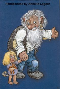 """ Farfar med flicka barnbarn "", handpainted by Anneke Legeer, the Netherlands, naar voorbeeld van Rolf Lidberg, 2008 Netherlands, Scandinavian, Dads, Princess Zelda, Hand Painted, Painting, Fictional Characters, Inspiration, Rockers"