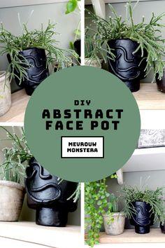 In deze blog laat ik zien hoe je zelf zo'n tof gezichtspotje kan kleien! #blog #diy #facepot #gezichtspot #faceplanter #plantenpot #plantstyling #kleien Abstract Faces, Diy Ideas, Planter Pots, Garden, Blog, Garten, Lawn And Garden, Gardens, Blogging