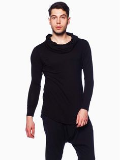 Black Cowl Neck Shirt with long sleeves and rounded tail.Cowl neck.Long sleeves.Rounded tail.Made in USA.By Unlock Clothing.