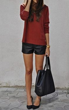 Love this simple & chic early fall outfit. Deep red sweater, Leather shorts? Suede heels, big basic leather tote.