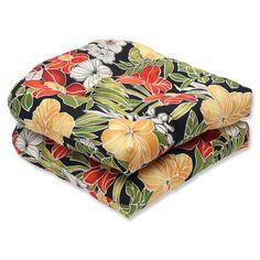 Pillow Perfect Clemens Noir Outdoor Dining Chair Cushion