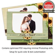This gorgeous sunflower template brings a touch of elegance to your event. This sunflower template is great for any rustic country wedding, barn weddings or any country themed event. All elements can easily be color adjusted to compliment any event. Sunflower Template, Photobooth Template, Country Style Wedding, Leave Early, Unique Weddings, Barn Weddings, Photoshop Elements, Wedding Tips, Wedding Pictures