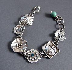 Silver Charm Bracelet, Flower Link Bracelet, Oxidized Jewelry, Artisan made Bracelet, Topaz Bracelet, Shillyshallyjewelry, one of a kind by ShillyShallyjewelry on Etsy