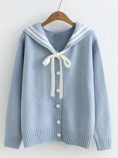 Sailor Collar Varsity Sweater Coat