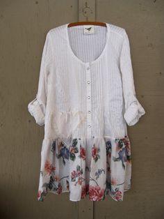 Romantische Böhmisches Kleid Upcycled Kleidung gefahrenen Cowgirl Tunika Bauer Kleid zerfetzten künstlerisch besten Hippie Kleid Gypsy-Kleid