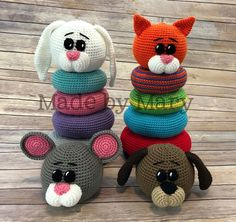 Crochet Ring Stacker Toy by Made by Mary **This is a PDF pattern, not the actual toy.** This fun stacking toy is perfect for little hands! Crochet Baby Toys, Crochet Bebe, Crochet Animals, Crochet Dolls, Crocheted Toys, Crochet Rings, Made By Mary, Stacking Toys, Toy Puppies