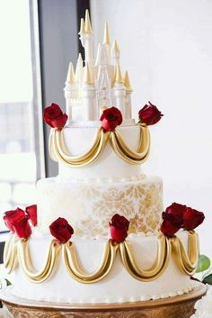 Ooooh - another gorgeous Beauty and the Beast Disney wedding cake! Disney Fairy Tale Weddings and Honeymoon Pretty Cakes, Beautiful Cakes, Amazing Cakes, Beauty And The Beast Theme, Beauty And The Beast Wedding Cake, Dream Wedding, Wedding Day, Wedding Disney, Disney Weddings