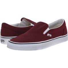 Vans Classic Slip-On Black/Black) Skate Shoes, Burgundy ($36) ❤ liked on Polyvore featuring shoes, burgundy, shock absorbing shoes, vans shoes, vans footwear, cushioned shoes and leather skate shoes