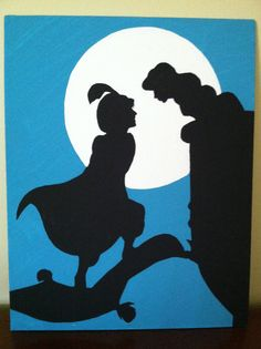 Aladdin and Jasmine Disney Silhouette on Canvas by PotterPillows, $15.00