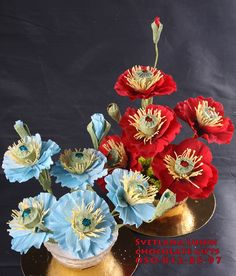 Handmade flowers of poppy with chocolate inside.
