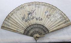 Antique Victorian Art Nouveau Hand Painted Fairies Hand Held Fan