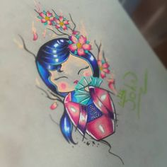 Estudo.. #tattoo #tattoomooca #watercolor #kokeshi #kokeshidoll