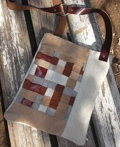 Cross body Leather Purse / Woven leather pattern by LunaBagDesigns, $90.00