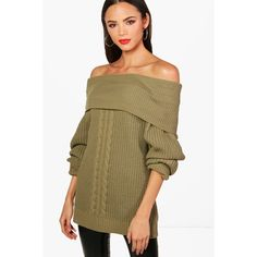 Boohoo Tall Isobel Off The Shoulder Jumper (25 AUD) ❤ liked on Polyvore featuring tops, sweaters, turtleneck sweater, brown turtleneck sweater, off the shoulder knit sweater, sequined sweater and chunky knit sweater