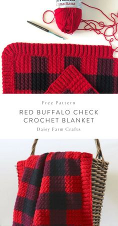 Easy Crochet Afghans Red Buffalo Check Crochet Blanket - Daisy Farm Crafts - This red buffalo checked crochet blanket is amazing. Seriously, it is one of my very favorites I've made so far… Motifs Afghans, Afghan Crochet Patterns, Crochet Stitches, Knitting Patterns, Crochet Afghans, Crochet For Beginners Blanket, Baby Blanket Crochet, Crochet Baby, Free Crochet