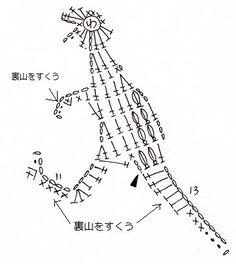 恐竜のモチーフ(編み図付き・ティラノサウルス) : Crochet a little
