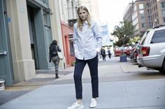 LOOKAST CHAPTER #5 - 2014 fall winter in New York - Pin stripe blue cleric shirt