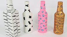 DIY 4 Garrafas Decoradas Animal Print - Do Lixo ao Luxo