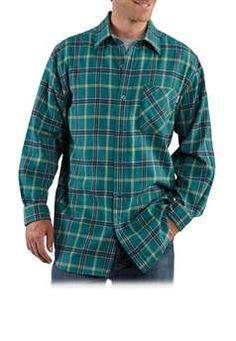 $41.99 Carhartt Mens S251 Long Sleeve Flannel Plaid Shirt - Teal Blue| http://camouflage.ca
